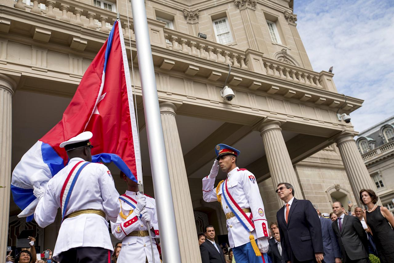 Cuba (NY) United States  city photos : Cuban honor guard prepares a Cuban national flag to be raised by Cuban ...