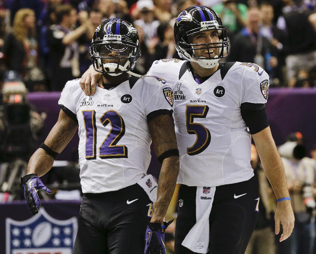 Baltimore Ravens quarterback Joe Flacco (5) celebrates with wide receiver Jacoby Jones (12) after throwing Jones a touchdown pass in the second quarter against the San Francisco 49ers during the NFL Super Bowl XLVII football game, Sunday, Feb. 3, 2013, in New Orleans. (AP Photo/Patrick Semansky)