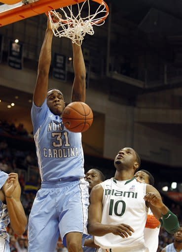 Barnes helps No. 8 UNC rally past Miami 73-64
