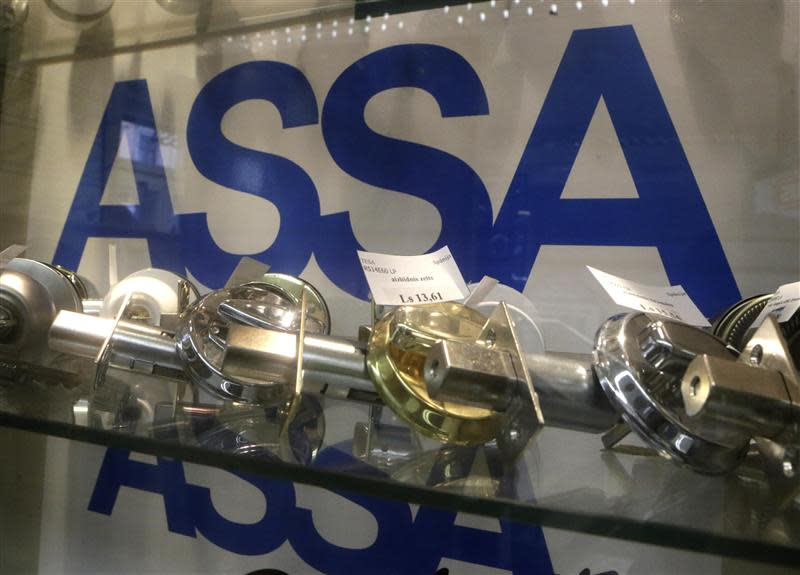Assa Abloy locks are displayed in a shop in Riga