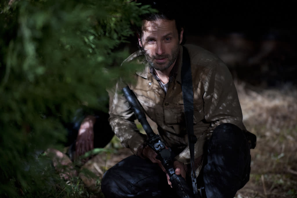 """Rick Grimes (Andrew Lincoln) in """"The Walking Dead"""" Season 3 Finale, """"Welcome to the Tombs."""""""