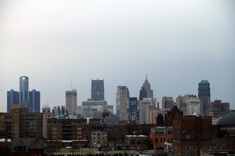 The Detroit skyline is seen from the north side of the city in Michigan