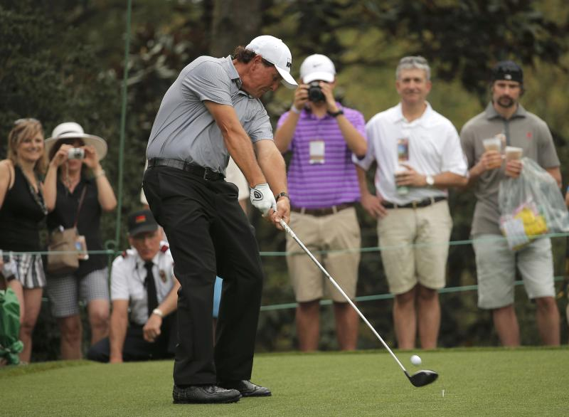 Phil Mickelson of the U.S. hits off the 15th tee during his practice round ahead of the 2015 Masters at Augusta National Golf Course in Augusta, Georgia April 8, 2015.  REUTERS/Brian Snyder