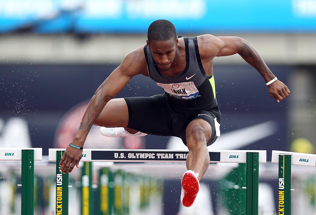 EUGENE, OR - JUNE 30:  Dexter Faulk competes in the Men's 110 Meter Hurdles Semi-Final on day nine of the U.S. Olympic Track & Field Team Trials at the Hayward Field on June 30, 2012 in Eugene, Oregon.  (Photo by Christian Petersen/Getty Images)