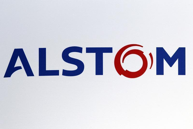 The logo of French power and transport engineering company Alstom is pictured during the company's 2011-2012 annual results presentation in Paris
