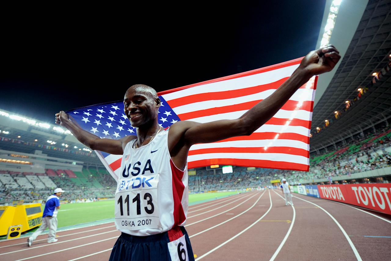 Aug 29, 2007; Osaka, JAPAN;  Bernard Lagat (USA) celebrates after winning the mens 1500 meter final with a time of 3:34.77 during the 11th IAAF World Championships at Nagai Stadium. Mandatory Credit: Prevost/Presse Sports via US PRESSWIRE