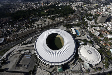 An aerial shot shows the Maracana stadium, one of the stadiums hosting the 2014 World Cup soccer matches, in Rio de Janeiro