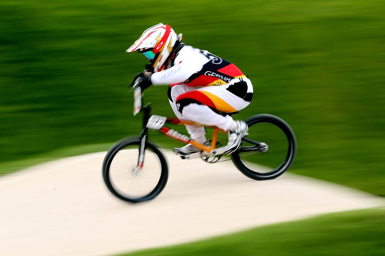 LONDON, ENGLAND - AUGUST 08:  Luis Brethauer of Germany competes during the Men's BMX Cycling on Day 12 of the London 2012 Olympic Games at BMX Track on August 8, 2012 in London, England.  (Photo by Bryn Lennon/Getty Images)