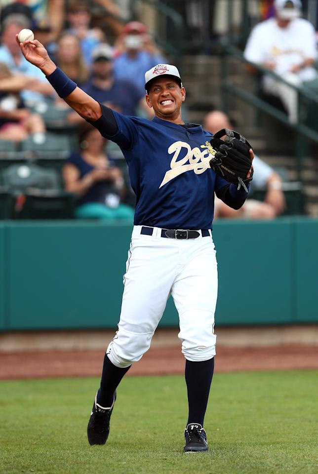 CHARLESTON, SC - JULY 02: Alex Rodriguez of the New York Yankess warms up before his game for the Charleston RiverDogs at Joseph P. Riley Jr. Park on July 2, 2013 in Charleston, South Carolina. (Photo by Streeter Lecka/Getty Images)