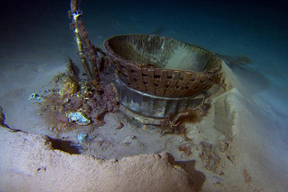 The thrust chamber of one of five first stage F-1 rocket engines used to launch one of NASA's mighty Saturn V rocket on a historic Apollo moon mission is seen on the floor of the Atlantic Ocean in this Bezos Expeditions image. Billionaire Jeff