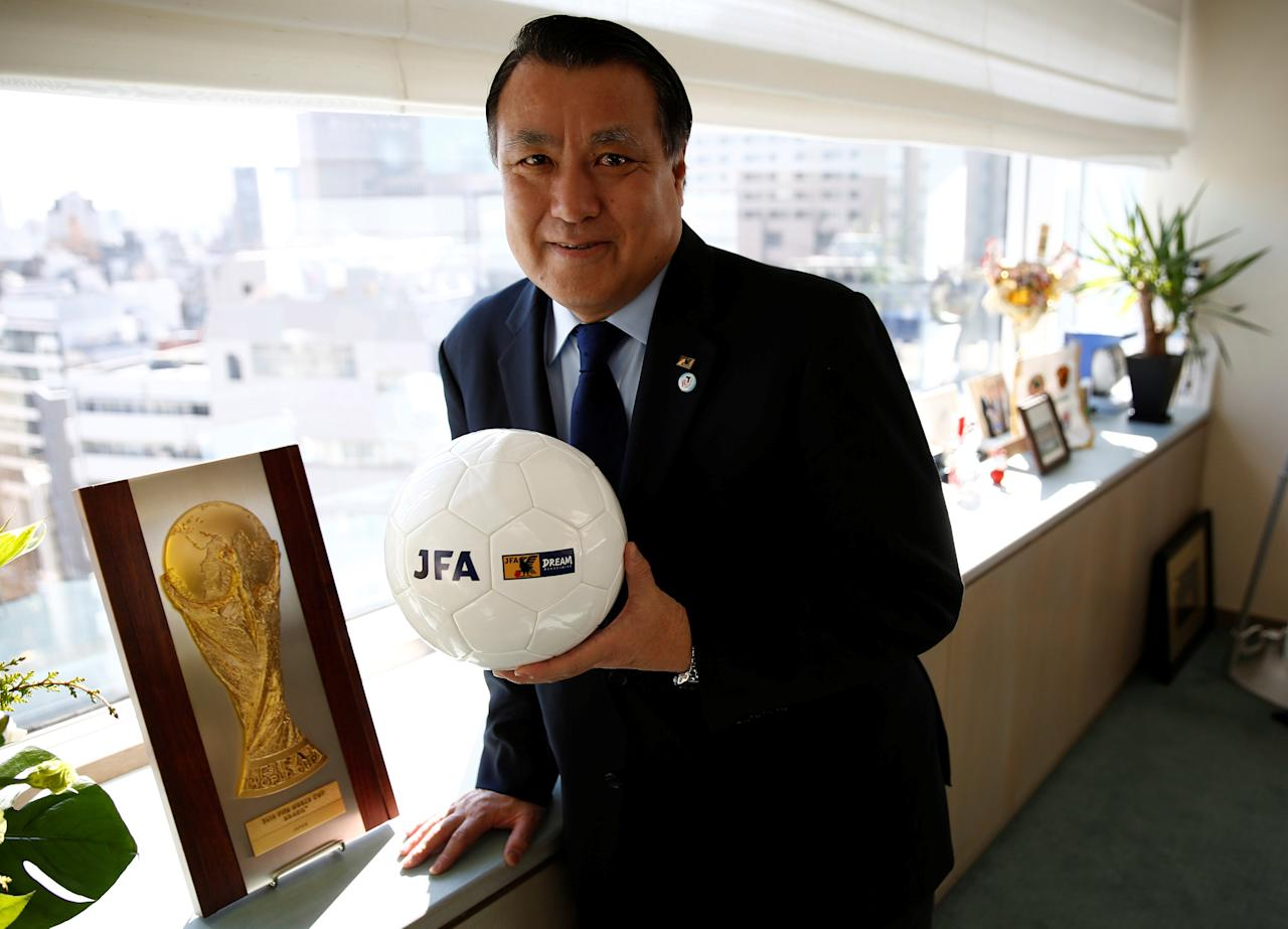 Japan Football Association (JFA) President Kozo Tashima poses with a soccer ball after an interview with Reuters at his office in Tokyo, Japan, January 12, 2017. REUTERS/Kim Kyung-Hoon