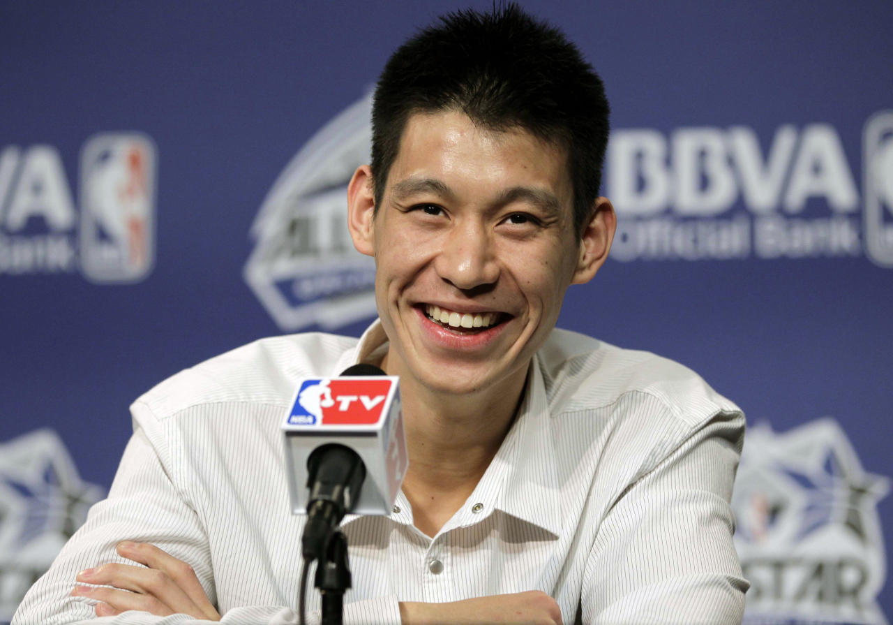 New York Knicks' Jeremy Lin appears for an availability before the NBA All-Star BBVA Rising Stars Challenge basketball game in Orlando, Fla., on Friday, Feb. 24, 2012. (AP Photo/Chris O'Meara)
