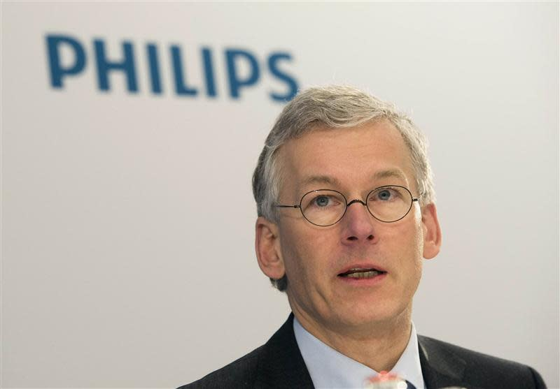 Van Houten, CEO of Philips, speaks during the presentation of the 2013 full-year results in Amsterdam