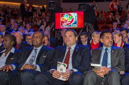 Dec 6, 2014; Gatineau, Quebec, Canada; Members of FIFA and the National Organizing Committee (NOC) including Chairman of the national organizing committee and CSA president Victor Montagliani (centre) attend the official draw for the FIFA Women's World Cup Canada 2015 at The Canadian Museum of History. Mandatory Credit: Marc DesRosiers-USA TODAY Sports
