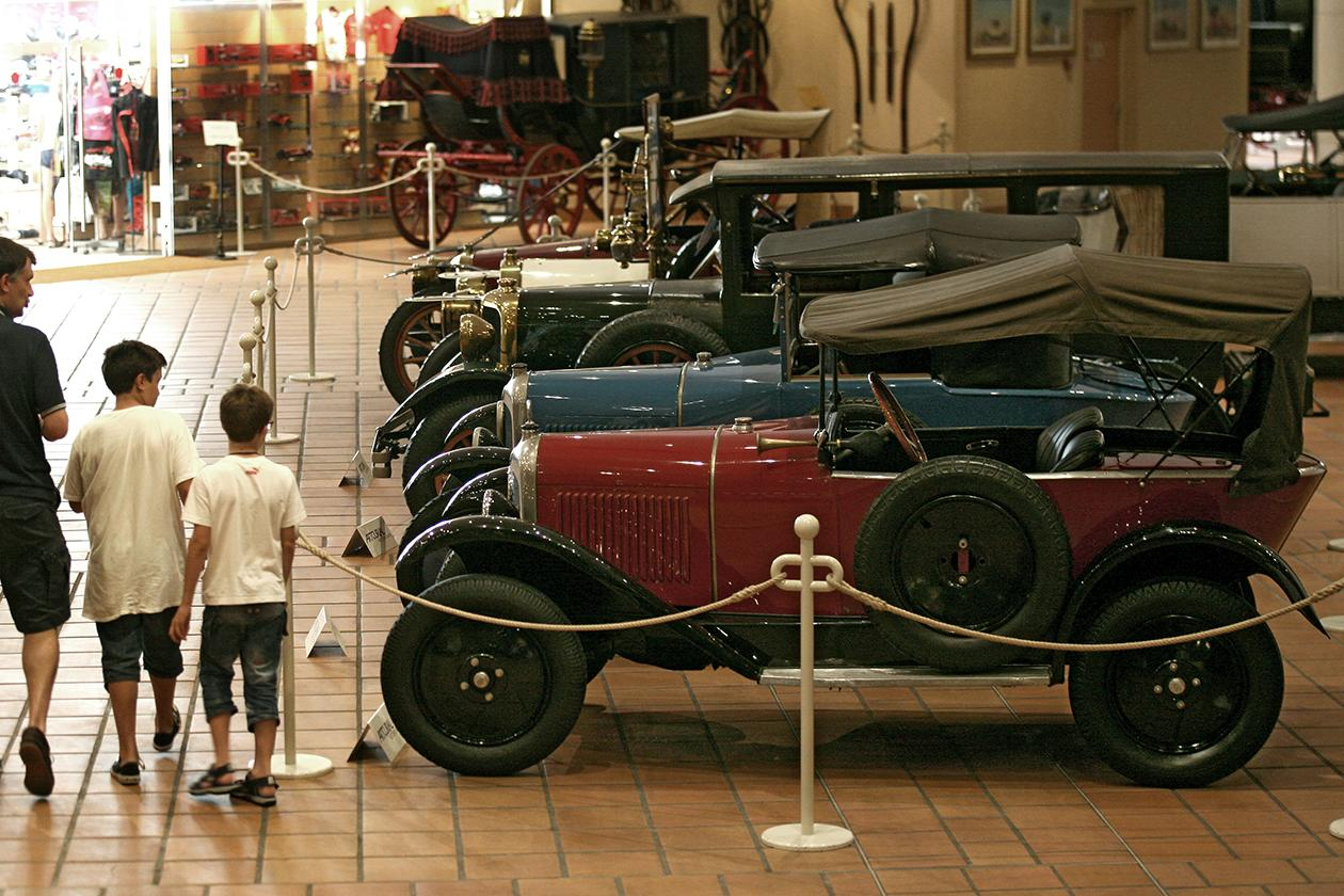 Visitors look at the cars of the collection of Prince Albert II of Monaco.