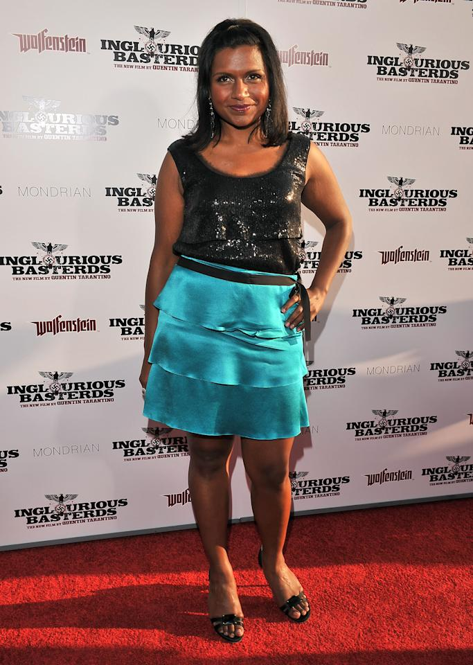 "HOLLYWOOD - AUGUST 10:  Actress Mindy Kaling arrives on the red carpet of the Los Angeles premiere of ""Inglorious Basterds"" at the Grauman's Chinese Theatre on August 10, 2009 in Hollywood, California.  (Photo by Lester Cohen/WireImage)"