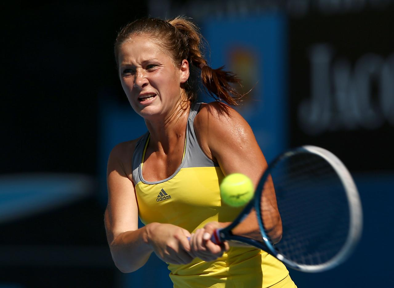 MELBOURNE, AUSTRALIA - JANUARY 21:  Bojana Jovanovski of Serbia plays a backhand in her fourth round match against Sloane Stephens of the United States during day eight of the 2013 Australian Open at Melbourne Park on January 21, 2013 in Melbourne, Australia.  (Photo by Cameron Spencer/Getty Images)