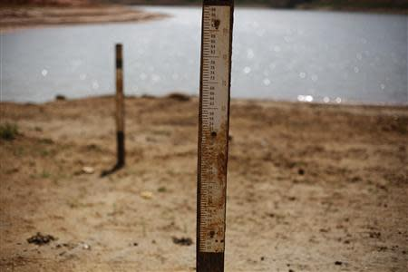 Water markers indicating where water level used to be are seen at Jaguary dam over a long drought period in Sao Paulo