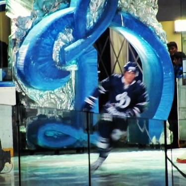 "Dynamo Moscow player skates onto the ice through the ""Big D."" (#NickInEurope)"