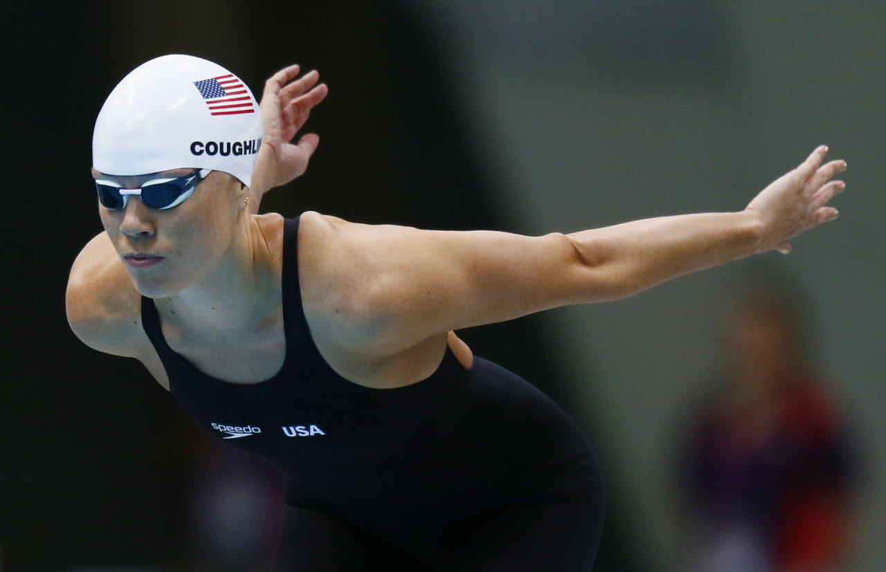 Jul 28, 2012; London, United Kingdom; Natalie Coughlin (USA) prepares to compete in her leg of a women's 4x100m freestyle relay heat during the 2012 London Olympic Games at Aquatics Centre. Mandatory Credit: Rob Schumacher-USA TODAY Sports