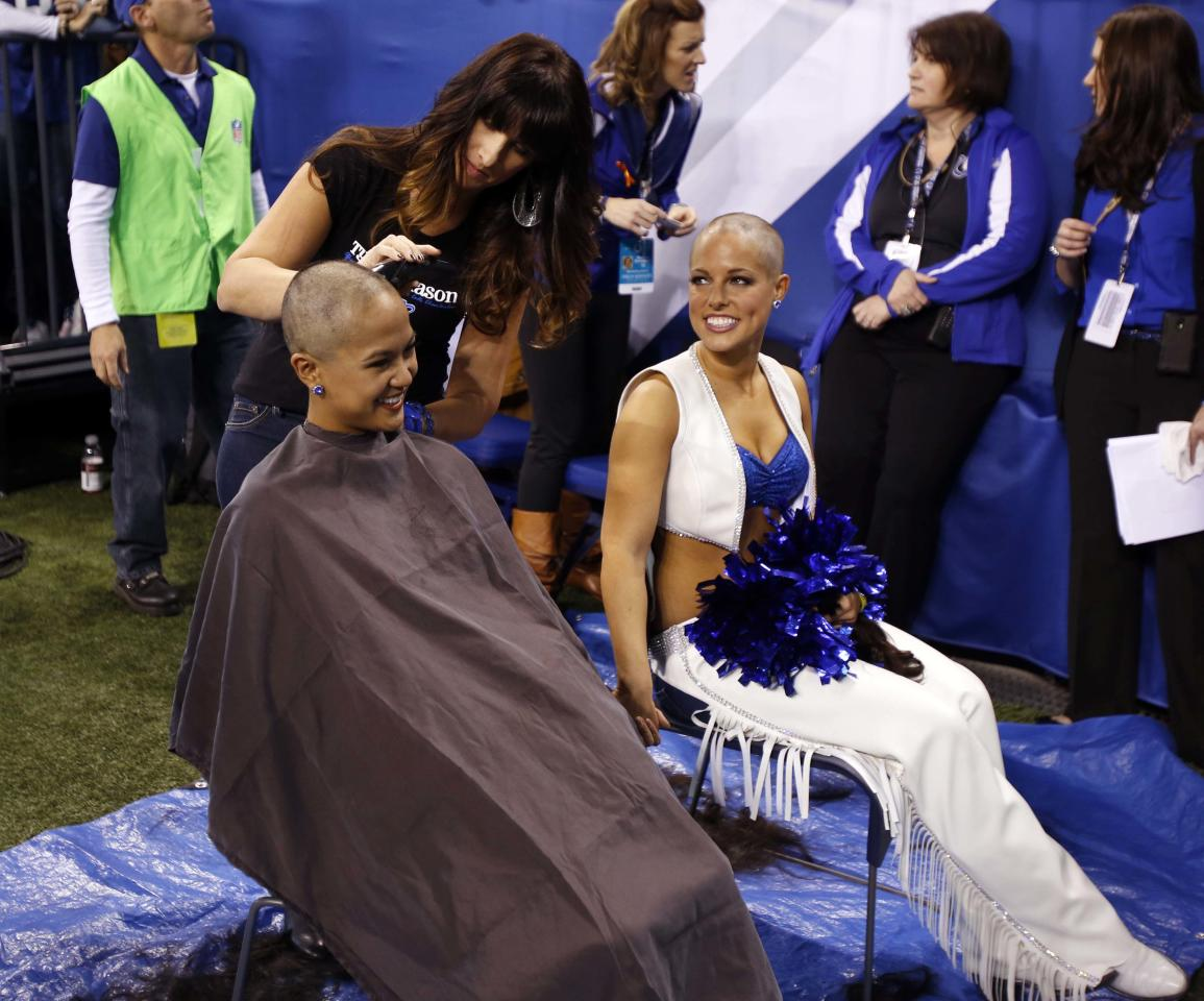 Nov 25, 2012; Indianapolis, IN, USA; Indianapolis Colts cheerleaders from left to right Crystal Ann and Megan M have their heads during a game against the Buffalo Bills at Lucas Oil Stadium. The cheerleaders raised over $22,670 for cancer research in support of Colts coach Chuck Pagano who has leukemia. Mandatory Credit: Brian Spurlock-US Presswire