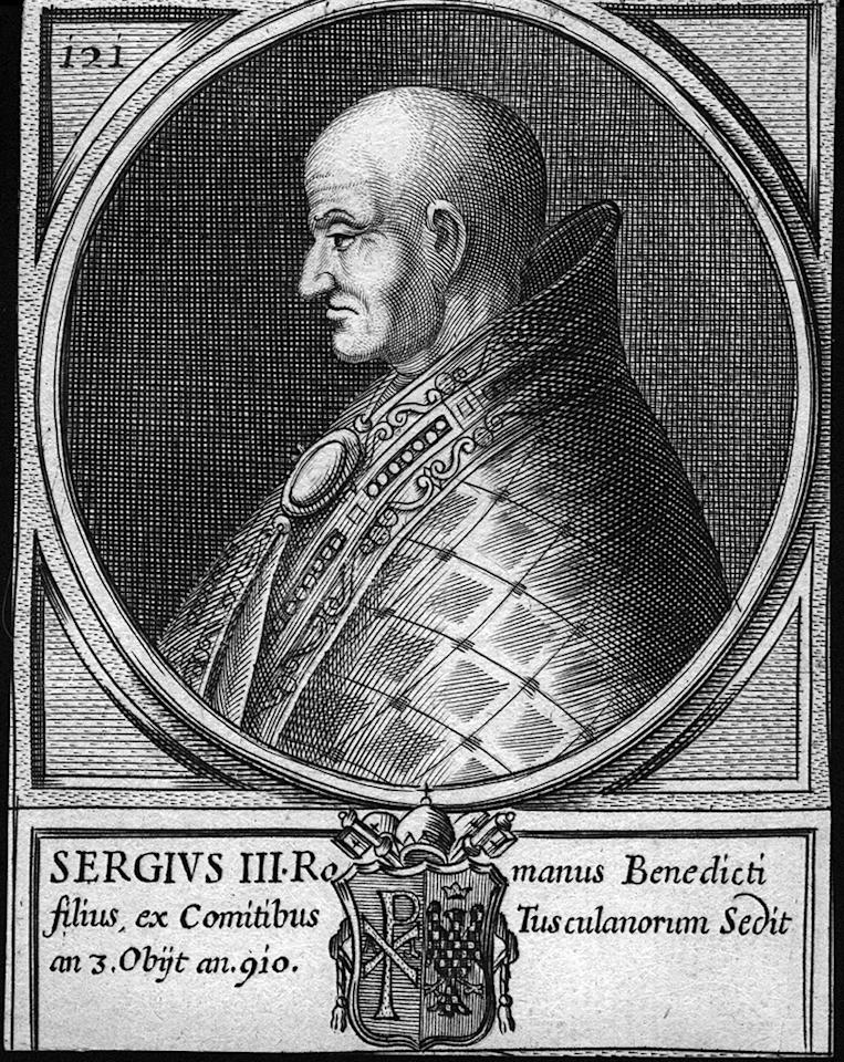 Circa 911 AD, Sergius III, (  - 911), pope from 905 to his death. (Photo by Hulton Archive/Getty Images)