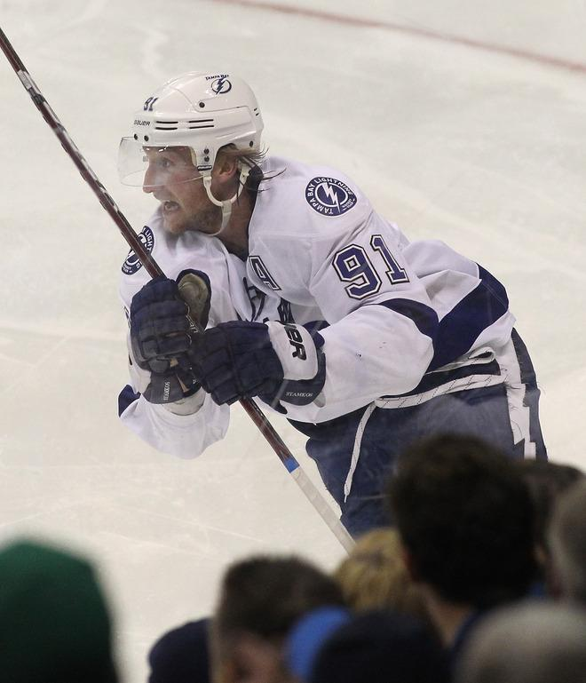 WINNIPEG, CANADA - APRIL 7: Steven Stamkos #91 of the Tampa Bay Lightning celebrates his goal against the Winnipeg Jets in the third period in NHL action at the MTS Centre on April 7, 2012 in Winnipeg, Manitoba, Canada. The goal was his 60th of the season. (Photo by Marianne Helm/Getty Images)