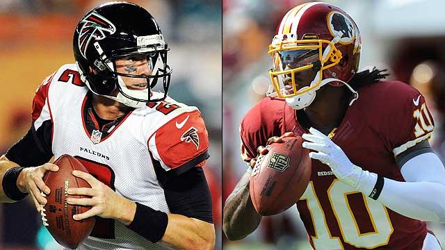 Matt Ryan and Robert Griffin III are off to strong starts and face off Sunday.
