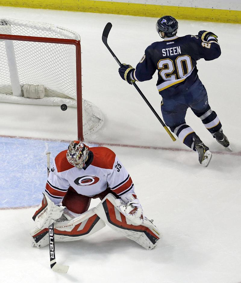 Blues handle Hurricanes 4-2