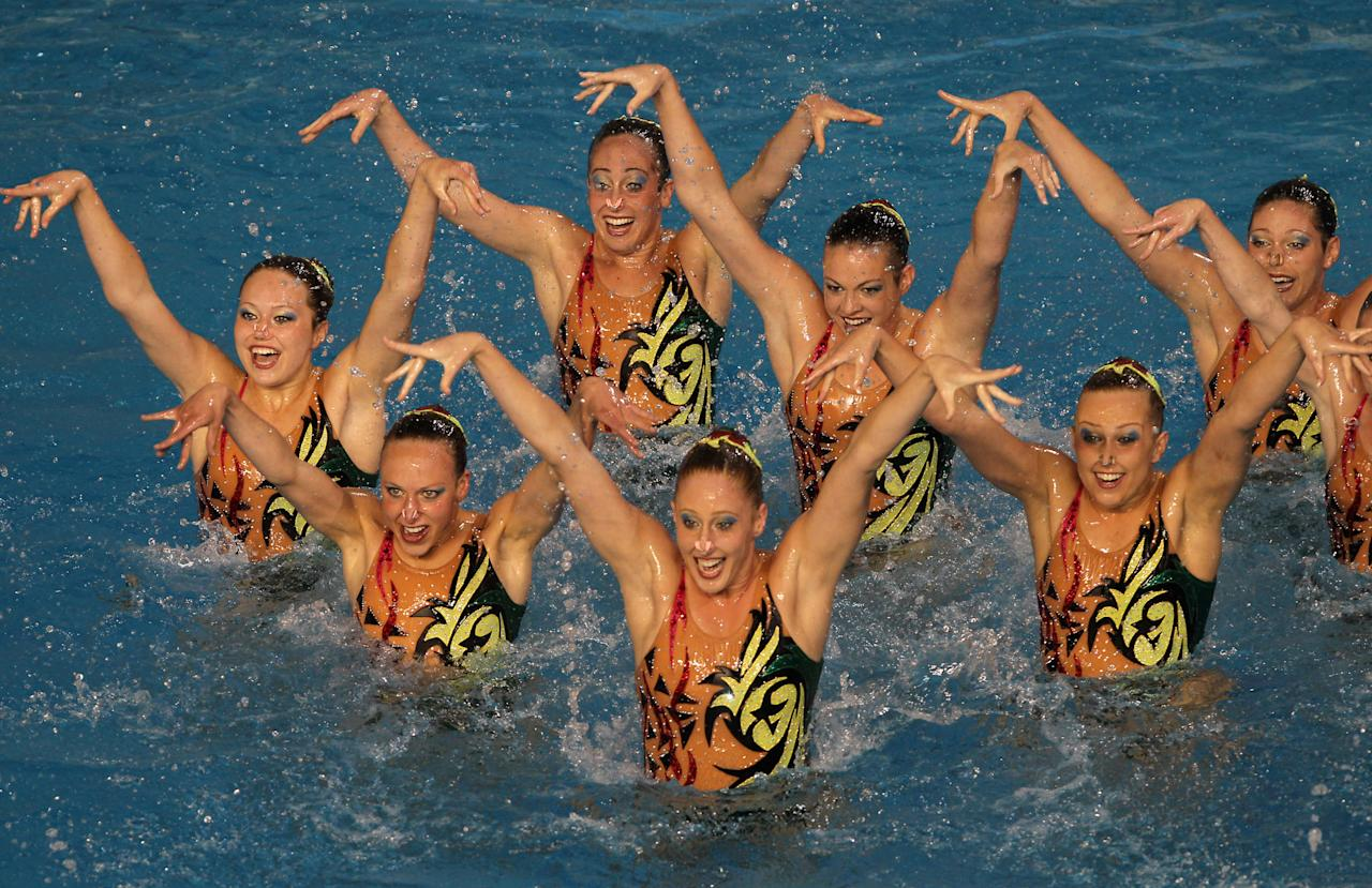 The United States team competes to win the silver in the team free routine of the synchronized swimming event at the Pan American Games in Guadalajara, Mexico, Friday, Oct. 21, 2011. (AP Photo/Silvia Izquierdo)