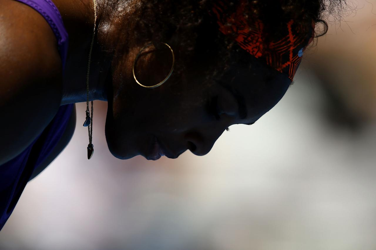 MELBOURNE, AUSTRALIA - JANUARY 15:  Serena Williams of the United States looks on in her first round match against Edina Gallovits-Hall of Romania during day two of the 2013 Australian Open at Melbourne Park on January 15, 2013 in Melbourne, Australia.  (Photo by Ryan Pierse/Getty Images)