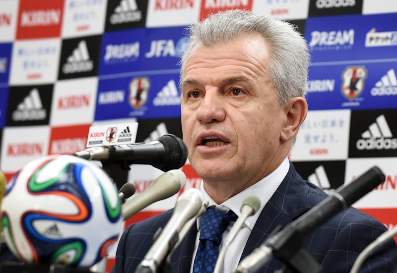 New Japan coach Javier Aguirre answers questions during a news conference in Tokyo on August 28, 2014