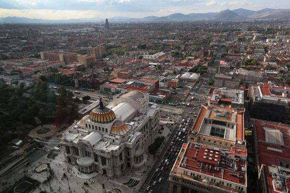 MEXICO CITY, MEXICO - JUNE 26:  The Palacio de Bellas Artes arts and cultural center is seen from the Latino Tower on June 26, 2012 in Mexico City, Mexico. Mexicans go to the polls to elect a new president this Sunday, July 1.  (Photo by John Moore/Getty Images)