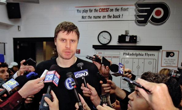 PHILADELPHIA, PA - MAY 08: Ilya Bryzgalov #30 of the Philadelphia Flyers speaks to the media after being defeated 3-1 by the New Jersey Devils in Game Five of the Eastern Conference Semifinals during the 2012 NHL Stanley Cup Playoffs on May 8, 2012 at the Wells Fargo Center in Philadelphia, Pennsylvania. The Devils advance to the next round with tonight's win. (Photo by Len Redkoles/NHLI via Getty Images)