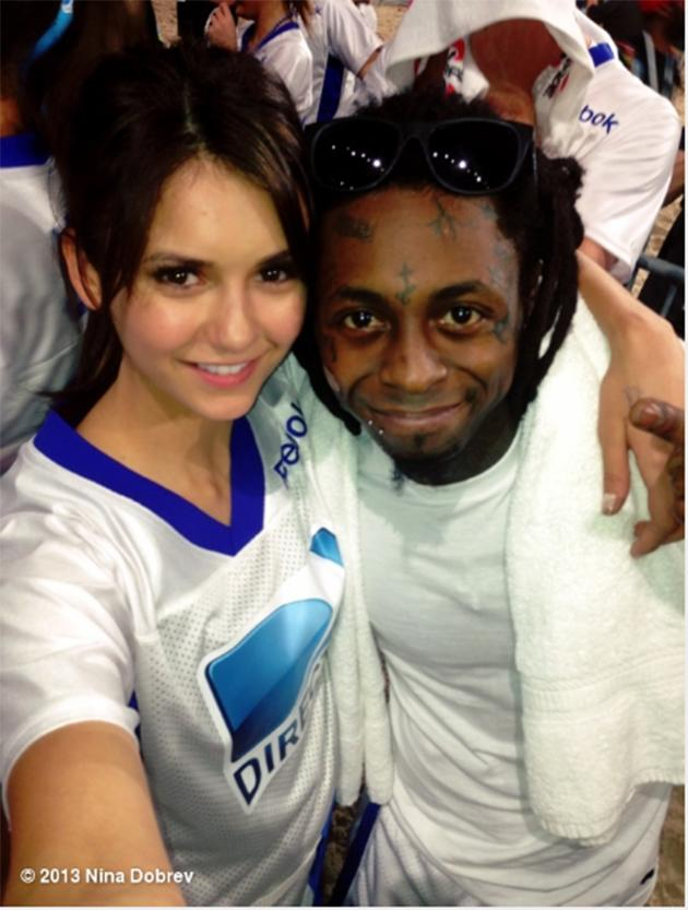 """The """"Vampire Diaries"""" star keeps it positive . """"Losers and still smiling- doesn't matter, we're still winning :) It was a close game! Love you @liltunechi @directtv #beachbowl"""""""