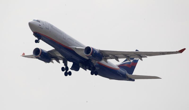 An Aeroflot Airbus A330 plane heading to the Cuban capital Havana takes off at Moscow's Sheremetyevo airport
