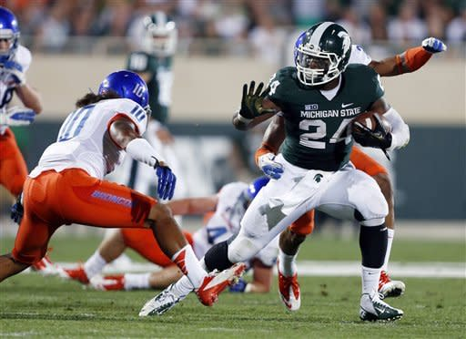 Bell tramples Broncos, lifts Spartans to 17-13 win