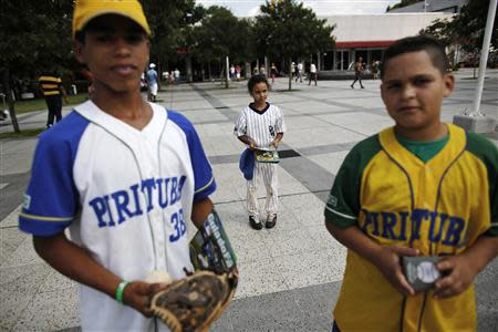 Children from Pirituba club, a Brazilian baseball club, are pictured during a baseball festival for children in Sao Paulo