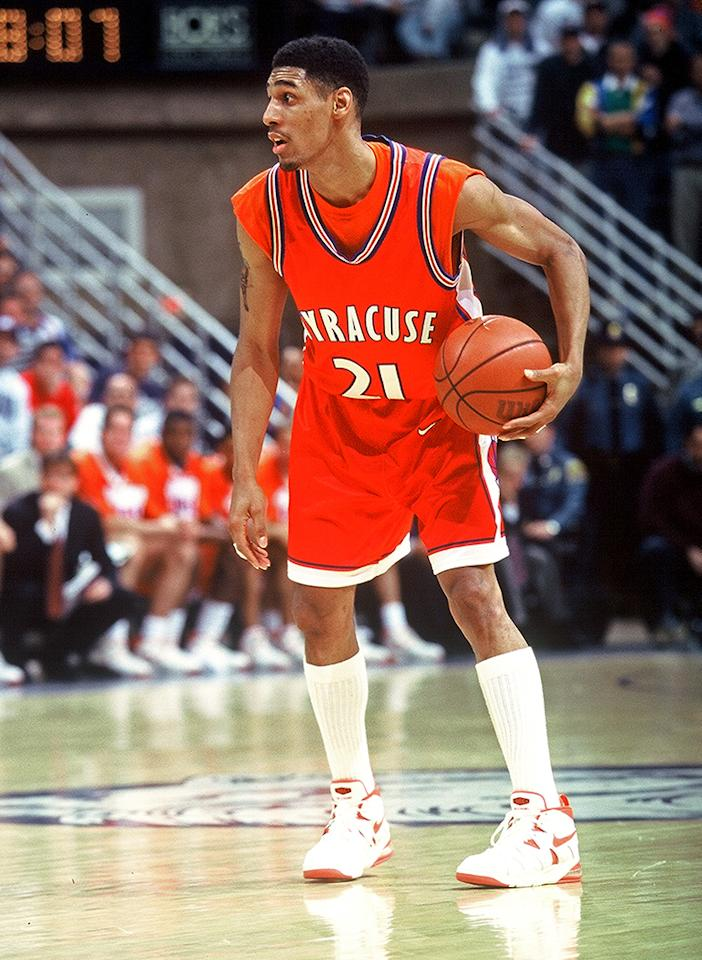 Lawrence Moten of Syracuse University with the ball during a game against the University of Connecticut, Storrs, Connecticut, 1994.