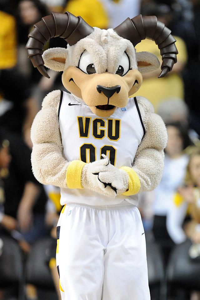 VCU Rams mascot on the floor during a college basketball game against the George Washington Colonials on February 16, 2013 at the Stuart C. Siegel Center in Richmond, Virginia. The Rams won 84-57. (Photo by Mitchell Layton/Getty Images)