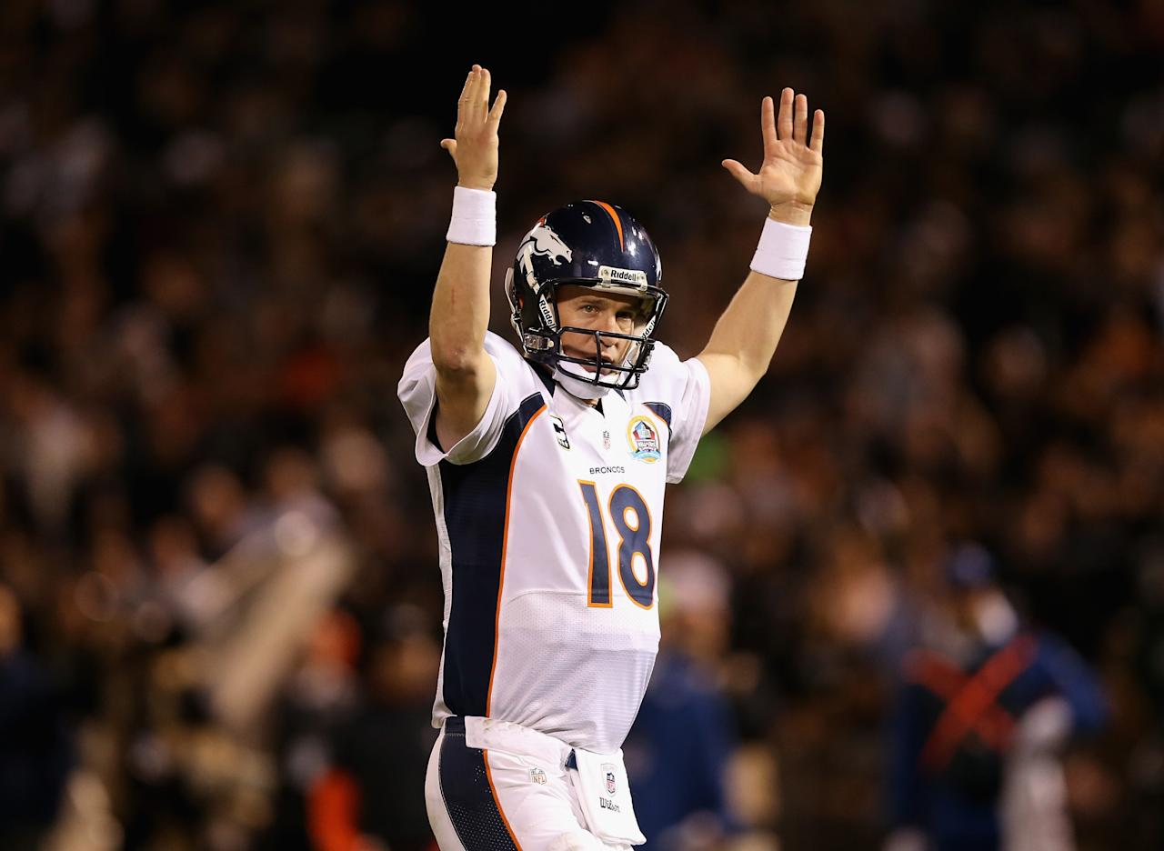 OAKLAND, CA - DECEMBER 06:  Peyton Manning #18 of the Denver Broncos celebrates after the Broncos scored a touchdown against the Oakland Raiders at O.co Coliseum on December 6, 2012 in Oakland, California.  (Photo by Ezra Shaw/Getty Images)