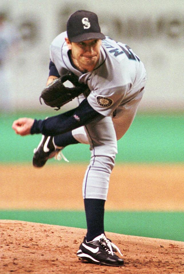 Seattle Mariners starting pitcher Jamie Moyer throws during the first inning against the Tampa Bay Devil Rays Tuesday night, July 21, 1998, at Tropicana Field in St. Petersburg, Fla. Moyer pitched eight innings, allowing three runs on seven hits and struck out five. The Mariners defeated the Devil Rays 8-3. (AP Photo/Steve Nesius)