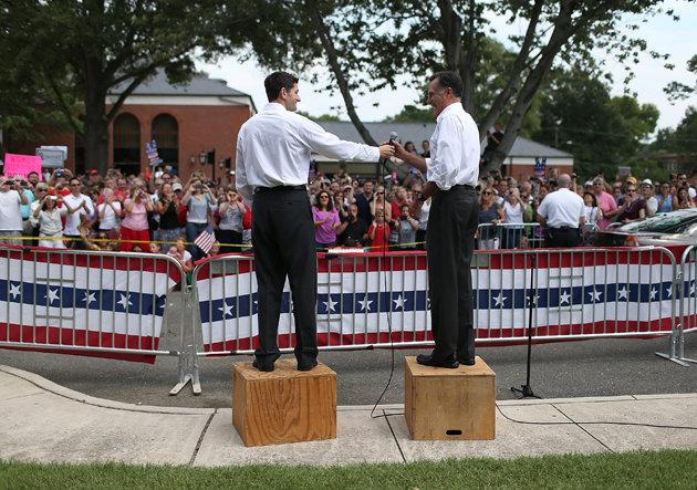 Paul Ryan and Mitt Romney in Ashland, Va. (Justin Sullivan/Getty Images)