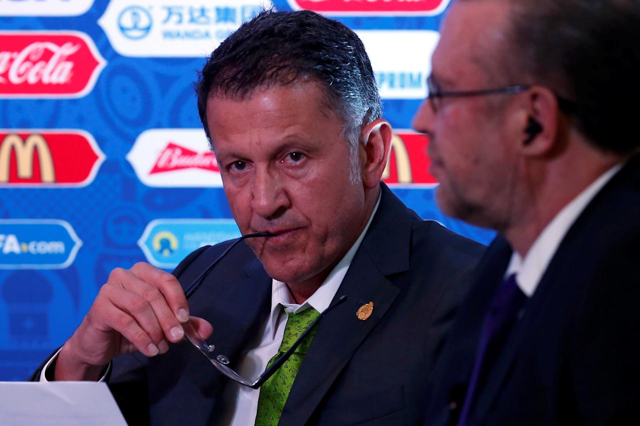 Juan Carlos Osorio, Mexico's national soccer team head coach, gestures during a news conference about FIFA Confederations Cup Russia 2017 as part of the 66th FIFA Congress, in Mexico City, Mexico, May 11, 2016. REUTERS/Edgard Garrido