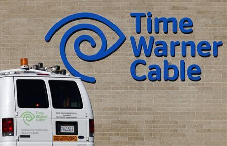 A cable truck returns to a Time Warner Cable office in San Diego, California
