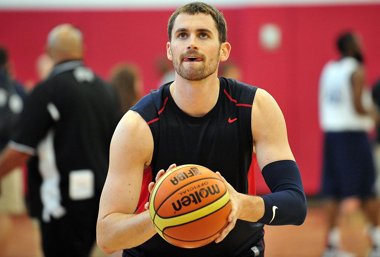 July 6, 2012; Las Vegas, NV, USA; Team USA forward Kevin Love during practice at the UNLV Mendenhall Center. Mandatory Credit: Gary A. Vasquez-US PRESSWIRE
