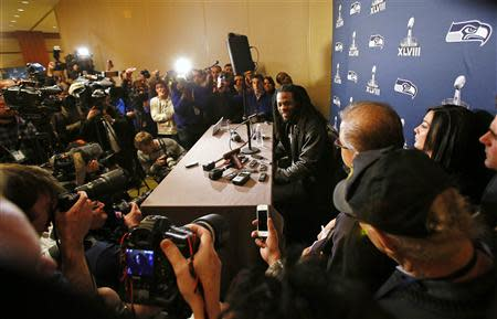 Seattle Seahawks' Sherman speaks during news conference after team's arrival for Super Bowl XLVIII against Denver Broncos in Jersey City
