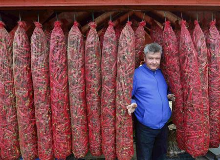 Local policeman and paprika maker Matos is seen from between hanging bags of drying peppers, near Batya