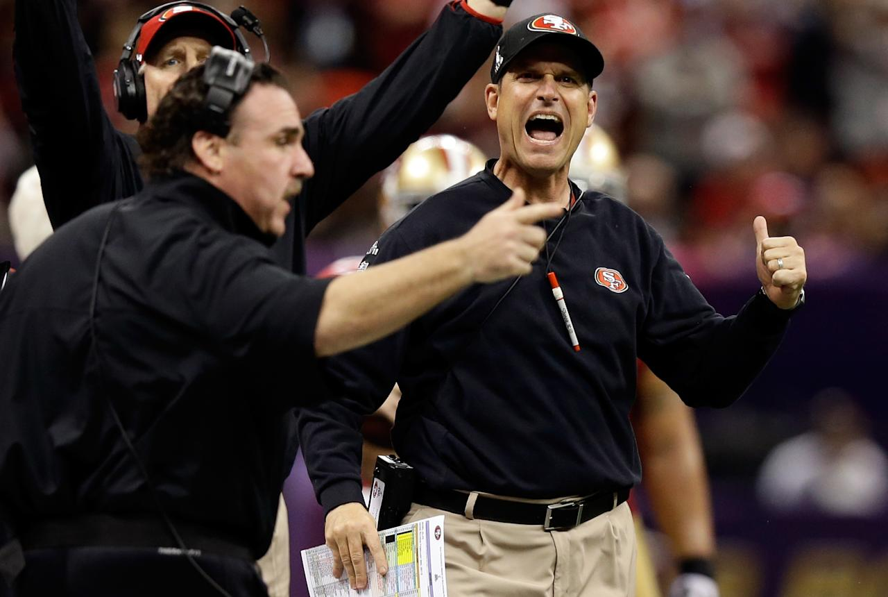 NEW ORLEANS, LA - FEBRUARY 03: Head coach Jim Harbaugh of the San Francisco 49ers reacts after a play in the second quarter against the Baltimore Ravens during Super Bowl XLVII at the Mercedes-Benz Superdome on February 3, 2013 in New Orleans, Louisiana.  (Photo by Ezra Shaw/Getty Images)
