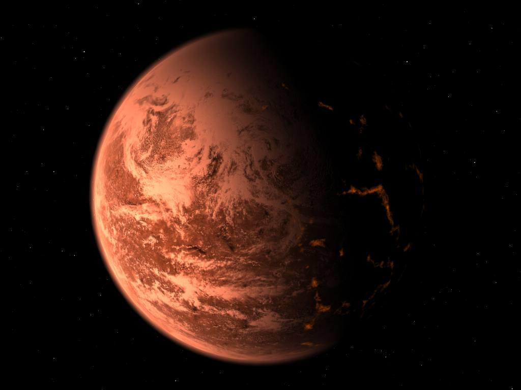 Handout picture released June 14, 2005 shows an artist's conception of a newly discovered planet being shown as a hot, rocky, geologically active world glowing in the deep red light of its nearby parent star, the M dwarf Gliese 876. The heat and the reddish light are among the few things about the new planet that are certain, depending on the thickness and composition of its atmosphere - if any - it could range from being a barren, cratered ball of rock like Mercury or the Moon, to being a featureless, cloud-shrouded cue-ball like Venus. REUTERS/Trent Schindler/National Science Foundation/Handout   HK/KS